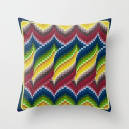 Bargello Quilt Pattern Impression 3 - red, blue, green, gold, ombre Throw Pillow