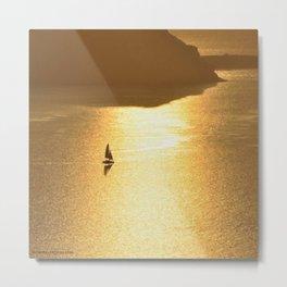 Sailing on a Golden Sea Metal Print
