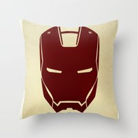 ironman Throw Pillows featuring IRONMAN by agustain