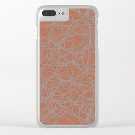 Slate Violet Gray SW9155 Thick Hand Drawn Scribble Mosaic Pattern on Cavern Clay SW 7701 Clear iPhone Case