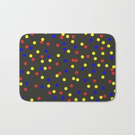Primary Scatter - Abstract red, yellow and blue polka dots Bath Mat