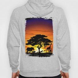 Wild Animals on African Savanna Sunset  Hoody