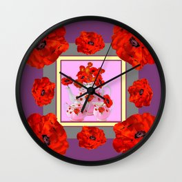 ORANGE POPPIES & PORCELAIN TEA SERVICE FLORAL ART Wall Clock