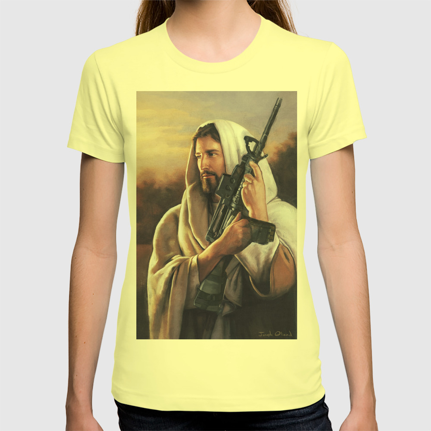 Assault rifle jesus christ messiah who would jesus shoot t shirt by thelensebender society6