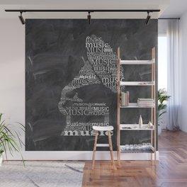Gramophone on chalkboard Wall Mural