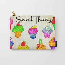 SWEET THANG - Cupcakes Sweet Sugary Goodness, Yummy Treat Romantic Colorful Bakery Illustration Carry-All Pouch