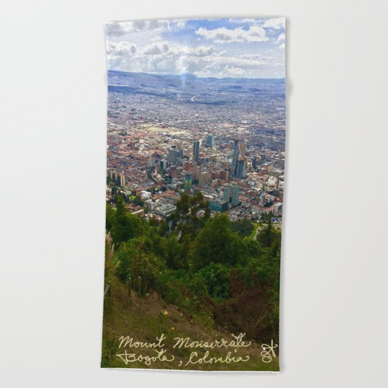 Mount Monserrate, with a 10,000 ft view of Bogota Colombia Beach Towel