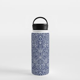 Detailed Floral Pattern in White on Navy Water Bottle