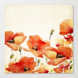 Poppy Flower Meadow- Floral Summer lllustration Canvas Print