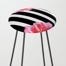 Pink roses on black and white stripes Counter Stool