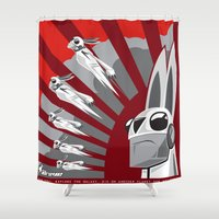propaganda Shower Curtains featuring The Drove Propaganda  by The Drove
