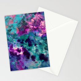 Inky Watercolor Paint Splash Stationery Cards