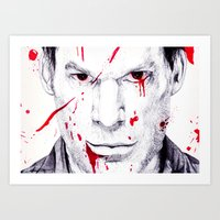 dexter Art Prints featuring Dexter by DeMoose_Art