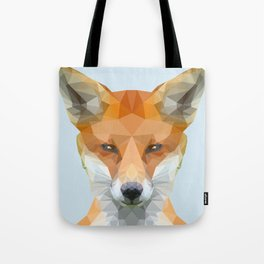 Low poly fox on blue/grey background Tote Bag