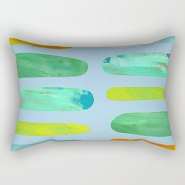 Green Pegs in Blue Rectangular Pillow