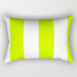 Wide Vertical Stripes - White and Fluorescent Yellow Rectangular Pillow