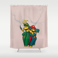 luigi Shower Curtains featuring Mario and Luigi from Asgard by Brão Barbosa
