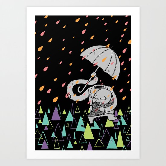 Running From The Rain Art Print