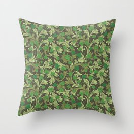 Green ivy with ornament on dark brown background Throw Pillow