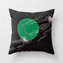 Finger Whales Throw Pillow