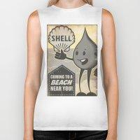 oil Biker Tanks featuring Oil Spills by Sophie Broyd