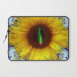 EMERALD GOLD BUG ON SUNFLOWER BUTTERFLY Laptop Sleeve