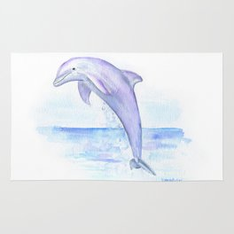 Dolphin Watercolor Rug