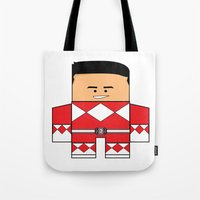 power rangers Tote Bags featuring Mighty Morphin Power Rangers - The Original Red Ranger Unmasked (Jason) by Choo Koon Designs