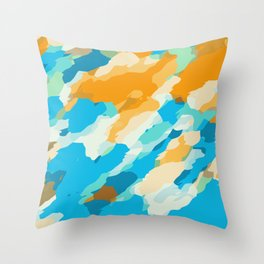 blue orange and brown dirty painting abstract background Throw Pillow