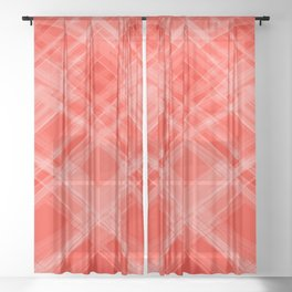 Swirling red ribbons with a pattern of symmetrical checkerboard rhombuses.  Sheer Curtain