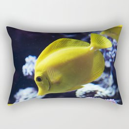 Under the Sea Swimming Yellow Fish Coral Reef Sea Anemone Underwater Photography Wall Art Print Rectangular Pillow