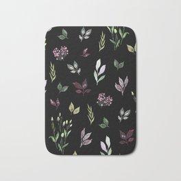 Tiny watercolor leaves pattern Bath Mat
