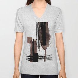 Ink brown black abstract Unisex V-Neck