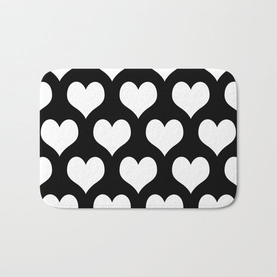 Hearts of Love Black & White Bath Mat