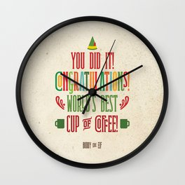 Buddy the Elf! World's Best Cup of Coffee Wall Clock