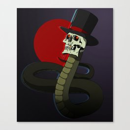 Top Hat Snake Skull Canvas Print
