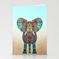ornate elephant Stationery Cards featuring ElePHANT by Monika Strigel