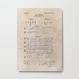 patent art Beswick Musical notation 1903 Metal Print