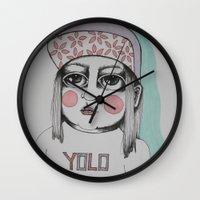 yolo Wall Clocks featuring Yolo  by Agnes Emilia