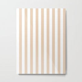 Narrow Vertical Stripes - White and Pastel Brown Metal Print