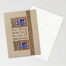 Eat, Sleep, Tea & Dragons Stationery Cards