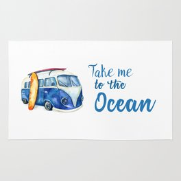 Take me to the Ocean // Summer quote with van and surfboard Rug