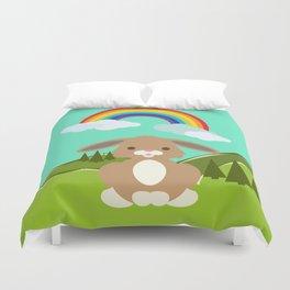 Rabbit and a Rainbow Duvet Cover