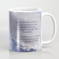 bible verses Mugs featuring Seagull with Matthew 6:26-26 Verses by Photos and Images by Corri