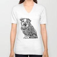 english bulldog V-neck T-shirts featuring Polynesian English Bulldog by Huebucket
