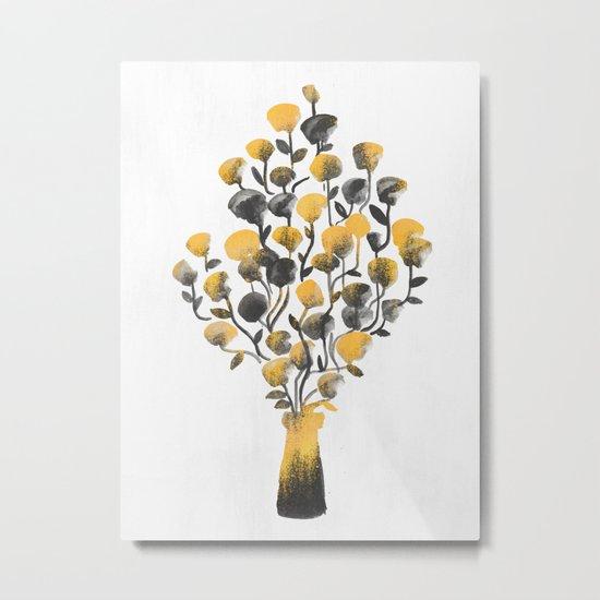 Golden Flower In A Vase Metal Print