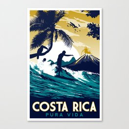 costa rica vintage retro surfing Canvas Print