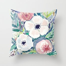 White Anemone Floral Throw Pillow