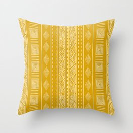 Mustard Yellow Tribal Ethnic Pattern | Sun Illustration | Vertical Stripes Throw Pillow