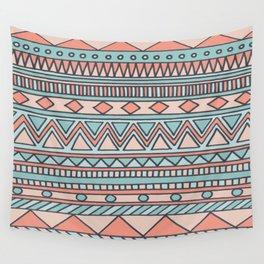 Tribal #4 (Coral/Aqua) Wall Tapestry